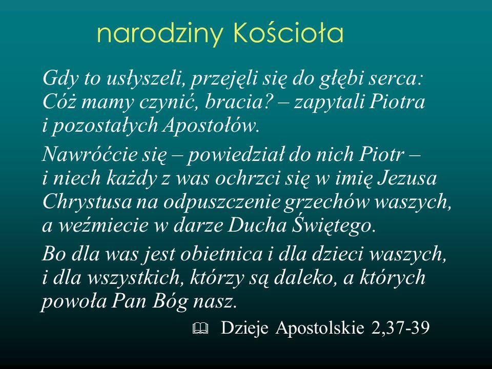 narodziny Kościoła Gdy to usłyszeli, przejęli się do głębi serca: Cóż mamy czynić, bracia – zapytali Piotra i pozostałych Apostołów.