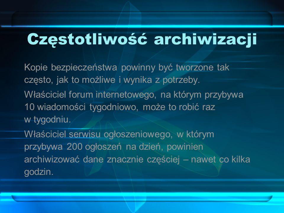 Częstotliwość archiwizacji