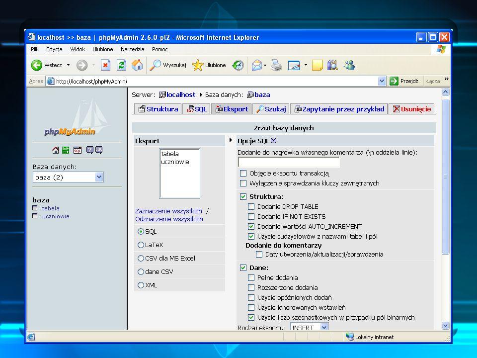 Archiwizacja w phpMyAdmin