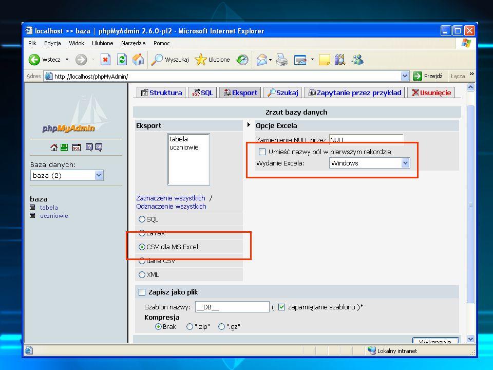 SQL, arkusz kalkulacyjny