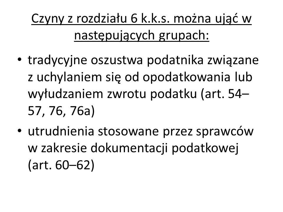 Czyny z rozdziału 6 k.k.s. można ująć w następujących grupach: