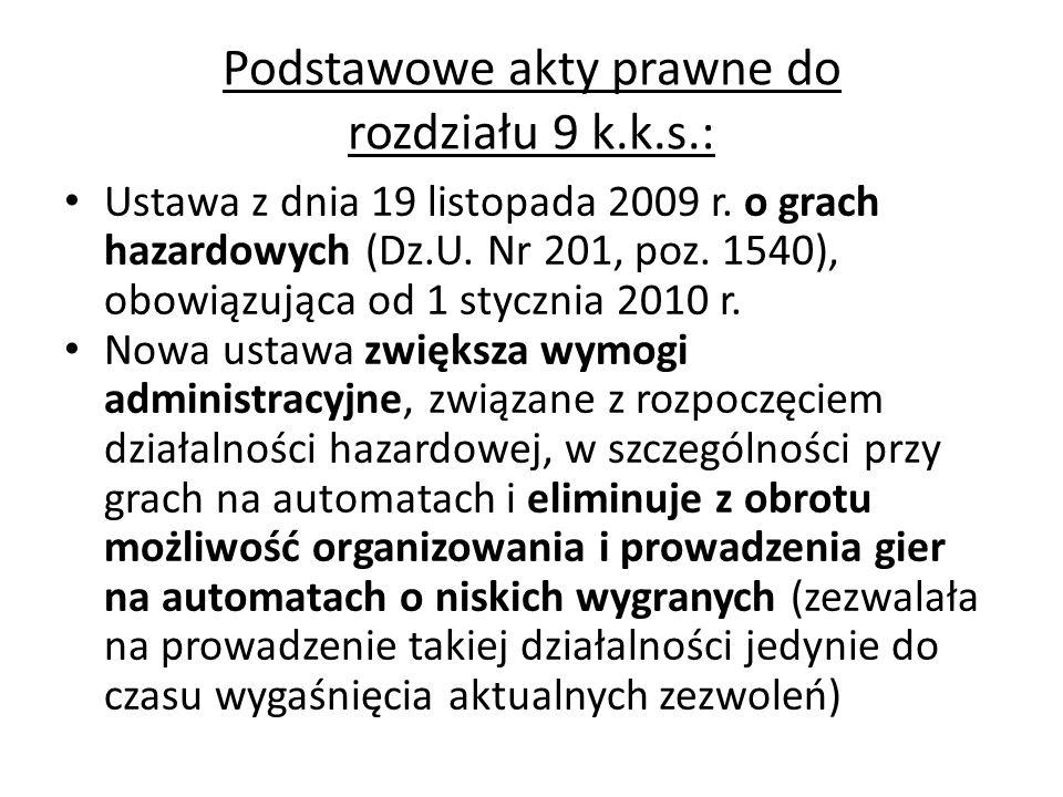 Podstawowe akty prawne do rozdziału 9 k.k.s.: