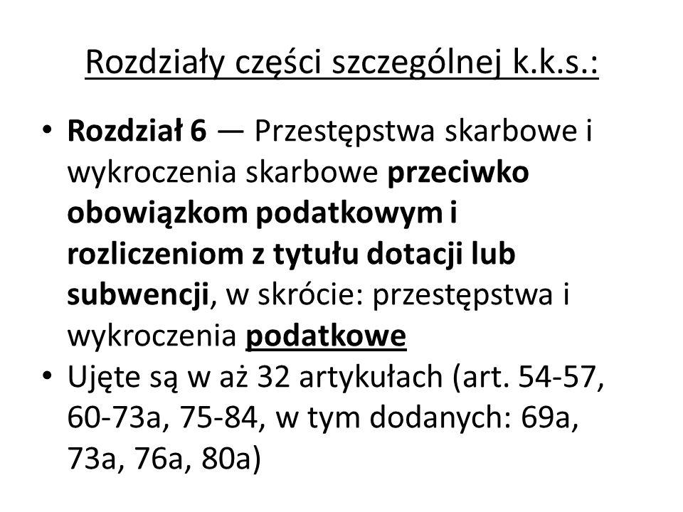 Rozdziały części szczególnej k.k.s.: