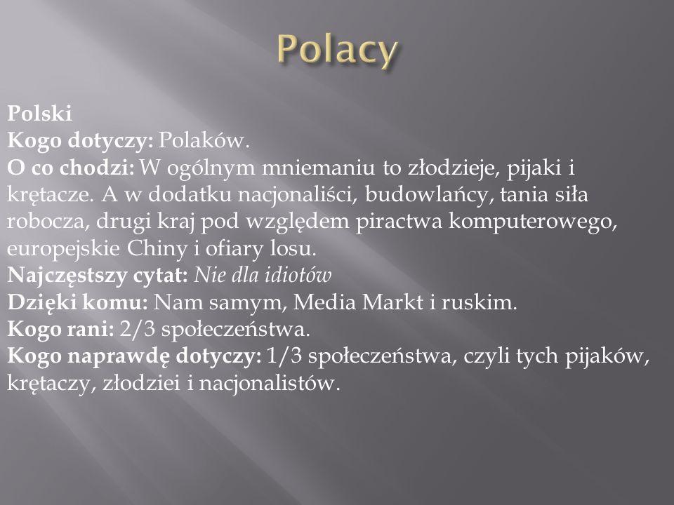 Polacy Polski Kogo dotyczy: Polaków.