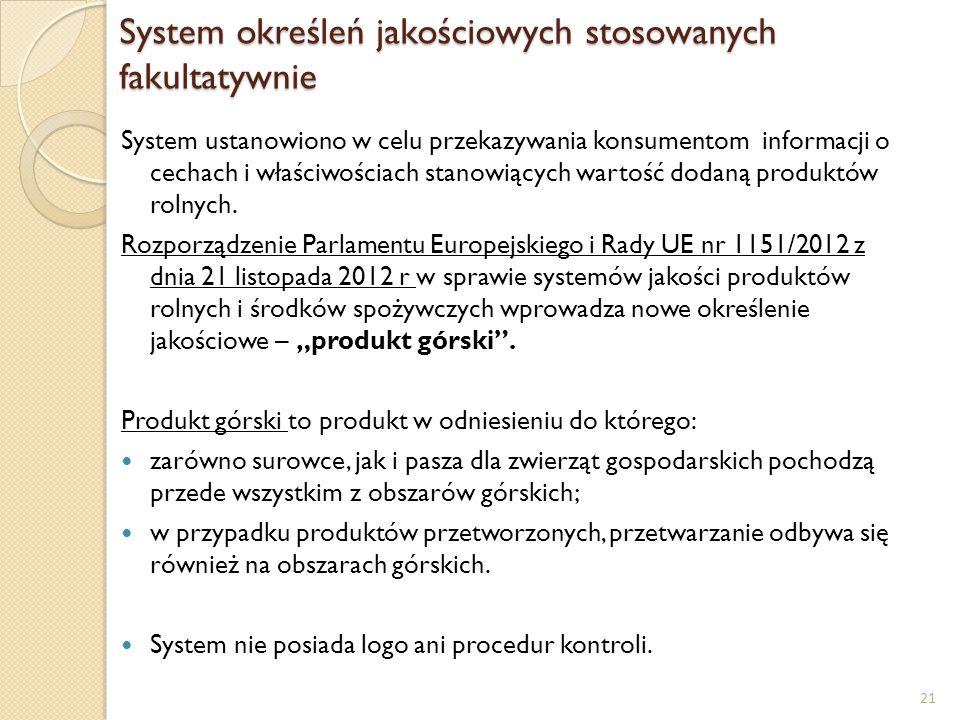 System określeń jakościowych stosowanych fakultatywnie