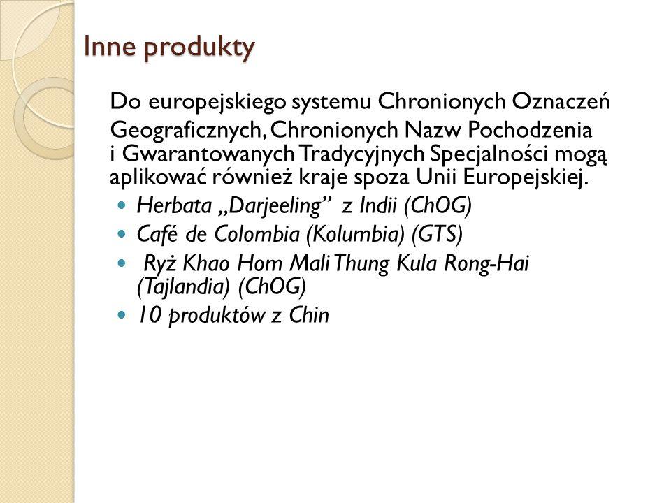 Inne produkty Do europejskiego systemu Chronionych Oznaczeń