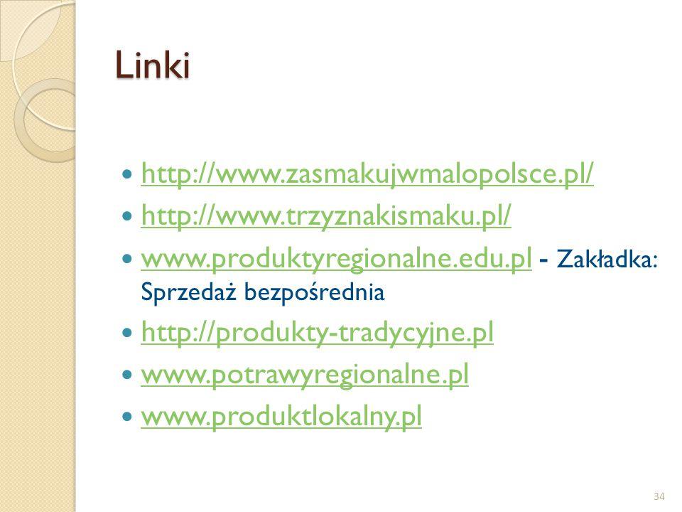 Linki http://www.zasmakujwmalopolsce.pl/ http://www.trzyznakismaku.pl/