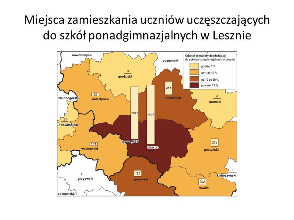 Miejsca zamieszkania uczniów uczęszczających do szkół ponadgimnazjalnych w Lesznie