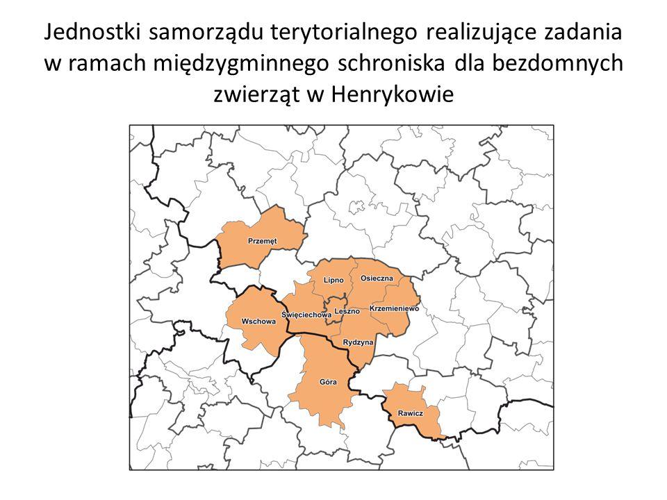 Jednostki samorządu terytorialnego realizujące zadania w ramach międzygminnego schroniska dla bezdomnych zwierząt w Henrykowie