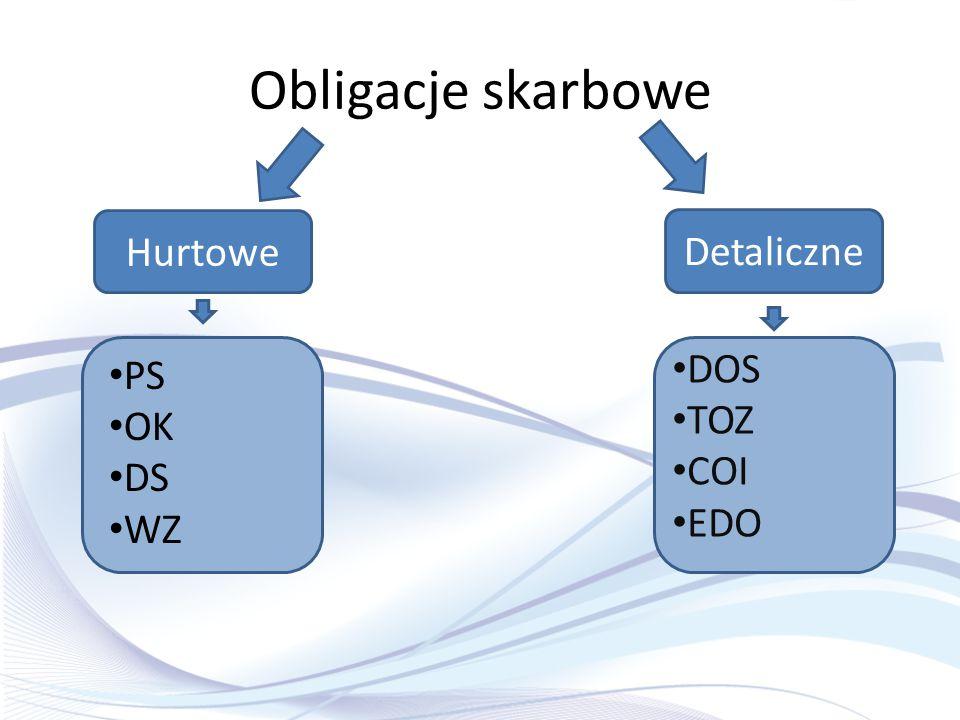 Obligacje skarbowe Hurtowe Detaliczne DOS TOZ COI EDO PS OK DS WZ