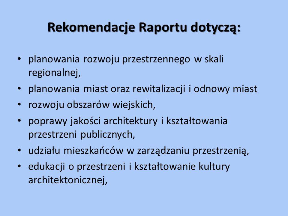 Rekomendacje Raportu dotyczą: