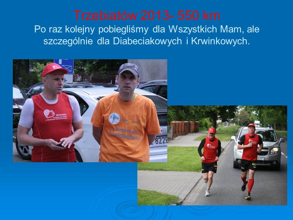 Trzebiatów 2013- 550 km Po raz kolejny pobiegliśmy dla Wszystkich Mam, ale szczególnie dla Diabeciakowych i Krwinkowych.