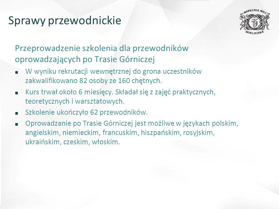 Sprawy przewodnickie Przeprowadzenie szkolenia dla przewodników oprowadzających po Trasie Górniczej.