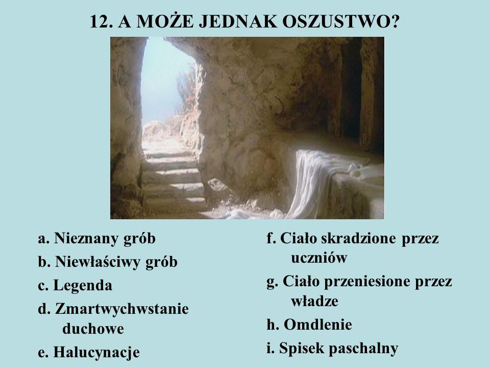 12. A MOŻE JEDNAK OSZUSTWO a. Nieznany grób b. Niewłaściwy grób c. Legenda d. Zmartwychwstanie duchowe e. Halucynacje