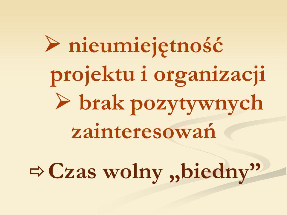 """ nieumiejętność projektu i organizacji  brak pozytywnych zainteresowań  Czas wolny """"biedny"""