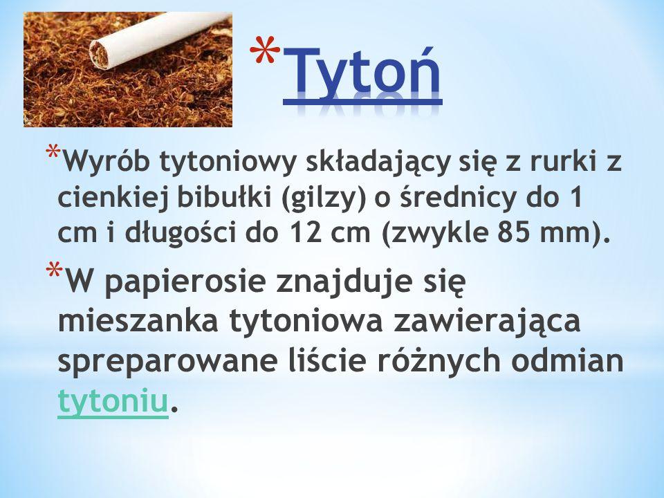 Tytoń Wyrób tytoniowy składający się z rurki z cienkiej bibułki (gilzy) o średnicy do 1 cm i długości do 12 cm (zwykle 85 mm).