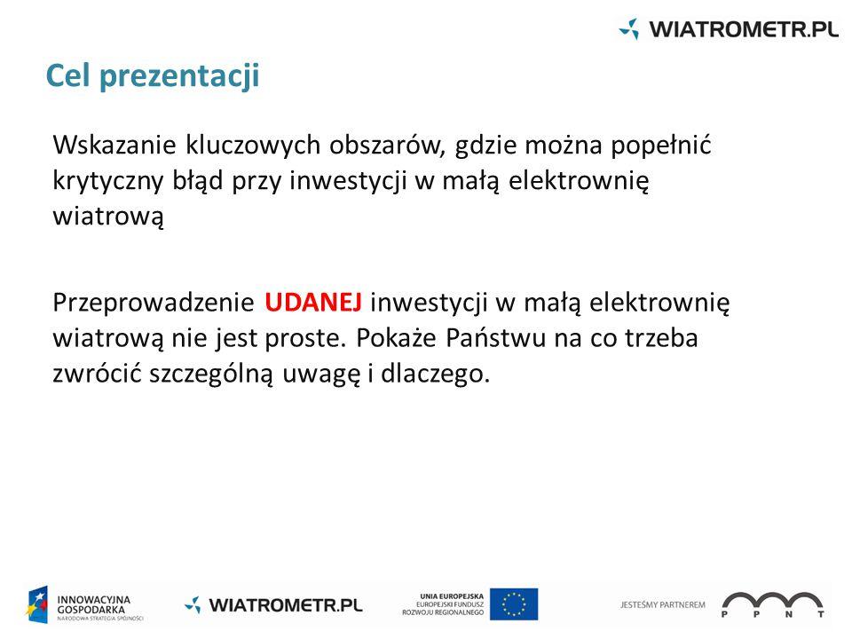 Cel prezentacji Wskazanie kluczowych obszarów, gdzie można popełnić krytyczny błąd przy inwestycji w małą elektrownię wiatrową.