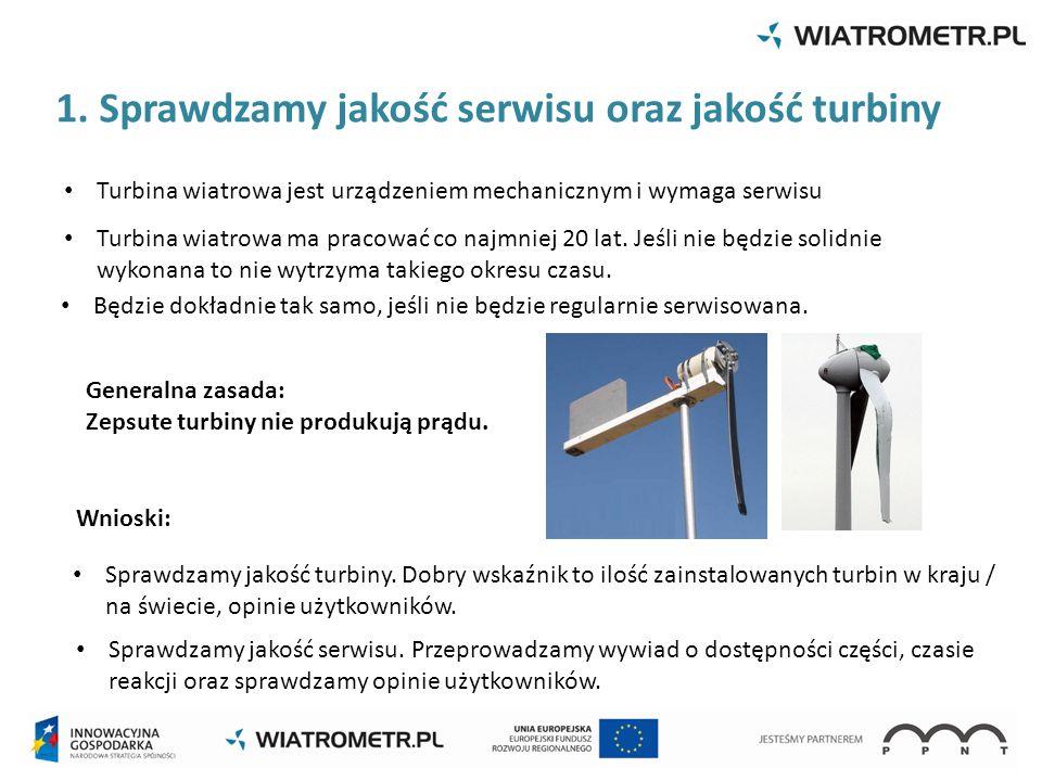 1. Sprawdzamy jakość serwisu oraz jakość turbiny