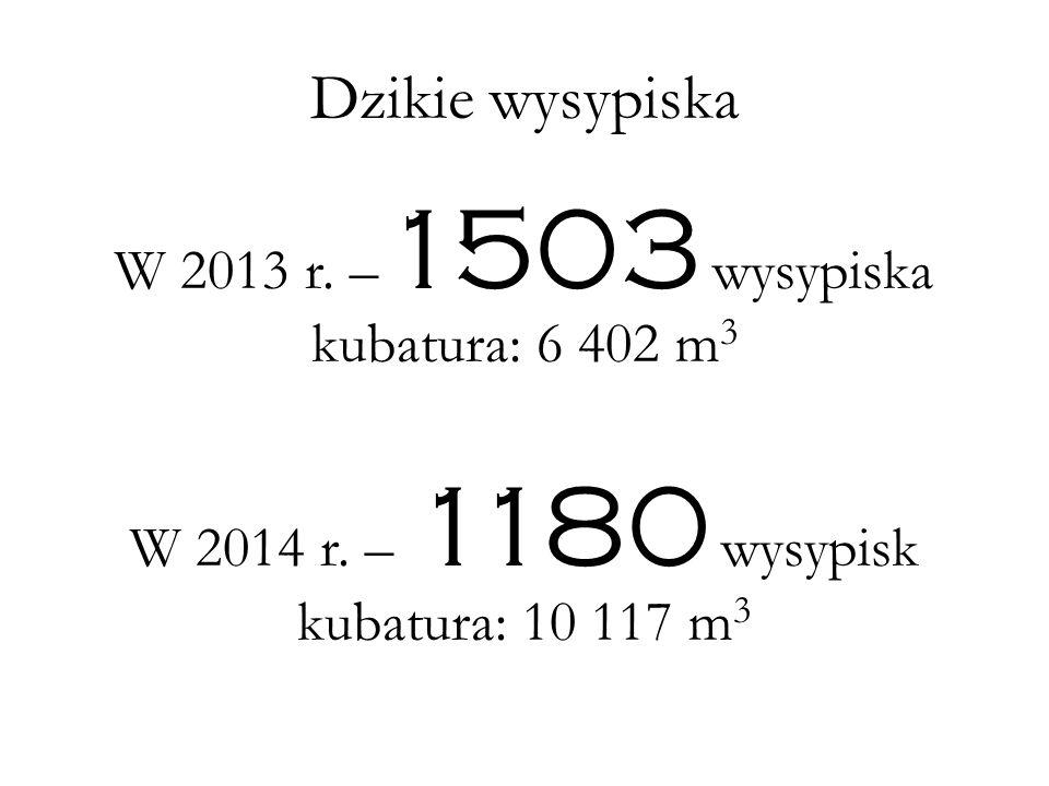 Dzikie wysypiska W 2013 r. –1503 wysypiska kubatura: 6 402 m3
