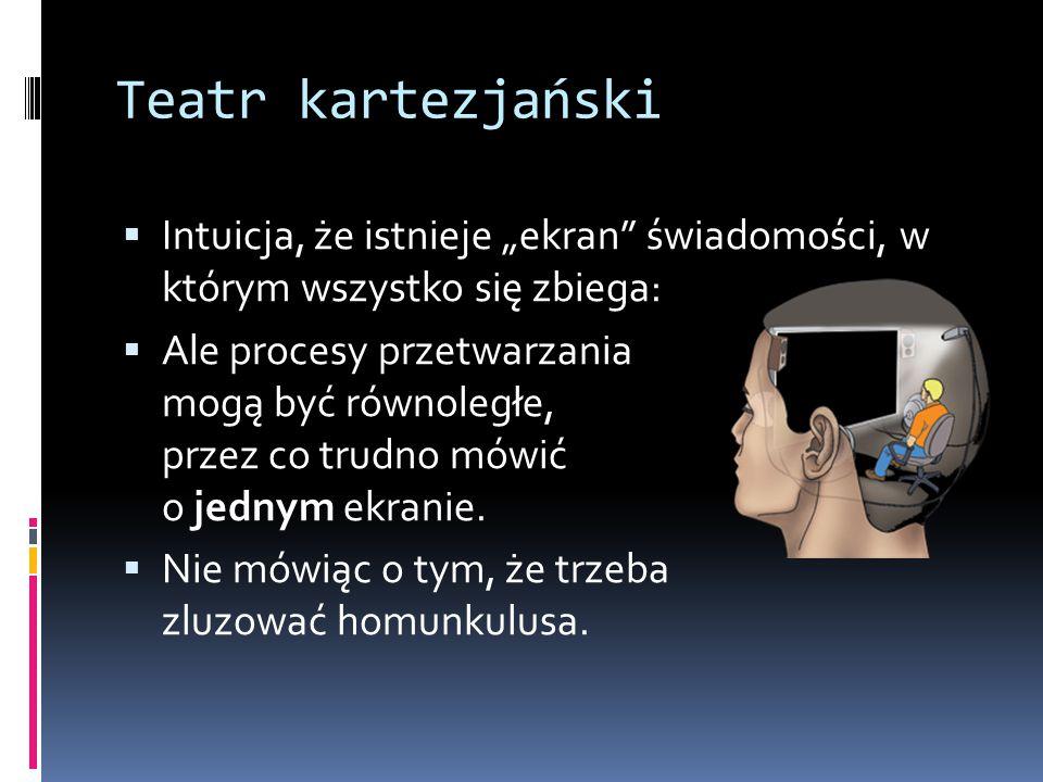 """Teatr kartezjański Intuicja, że istnieje """"ekran świadomości, w którym wszystko się zbiega:"""