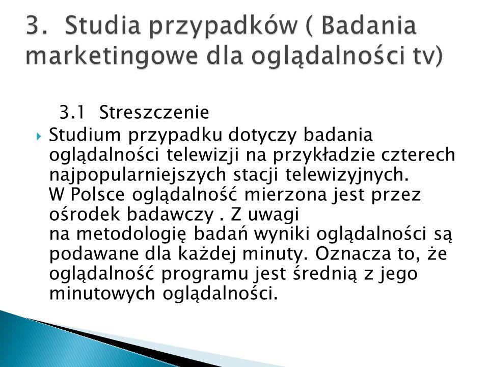 3. Studia przypadków ( Badania marketingowe dla oglądalności tv)