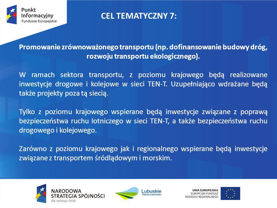 CEL TEMATYCZNY 7: Promowanie zrównoważonego transportu (np. dofinansowanie budowy dróg, rozwoju transportu ekologicznego).