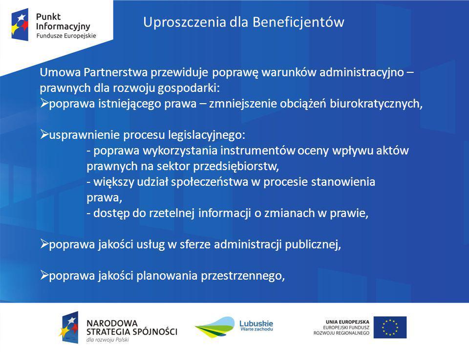 Uproszczenia dla Beneficjentów