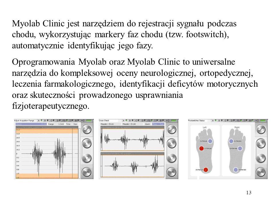 Myolab Clinic jest narzędziem do rejestracji sygnału podczas chodu, wykorzystując markery faz chodu (tzw. footswitch), automatycznie identyfikując jego fazy.