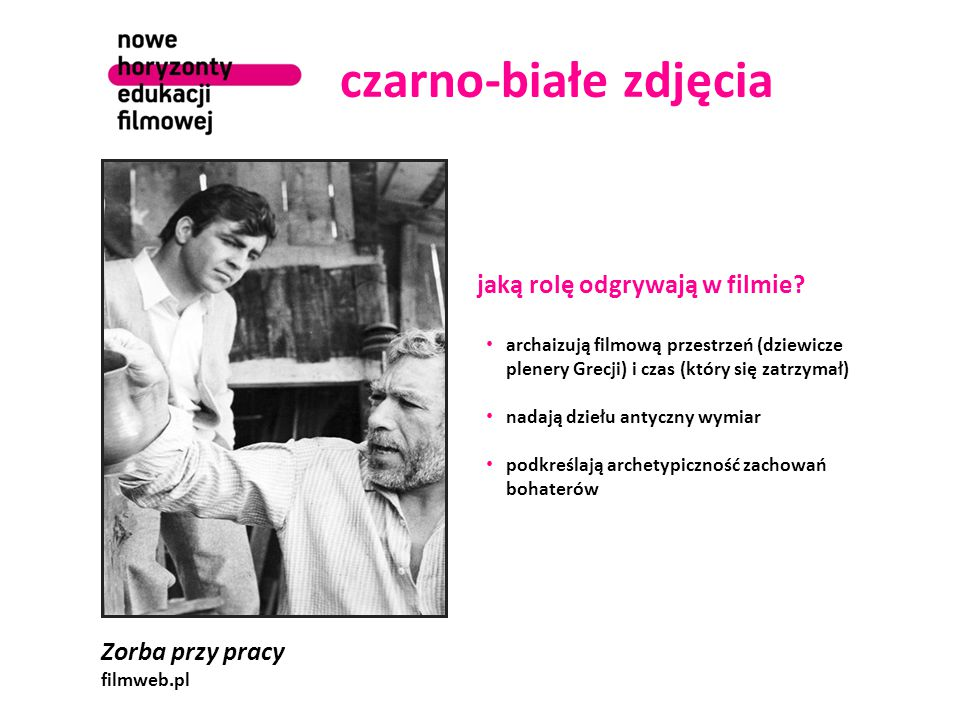 czarno-białe zdjęcia jaką rolę odgrywają w filmie Zorba przy pracy