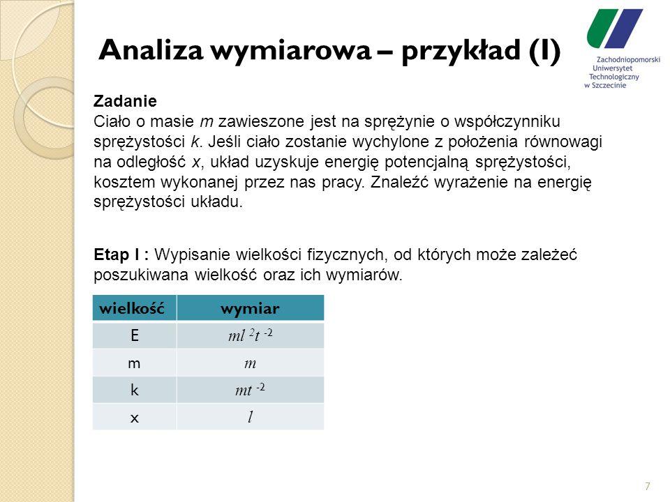 Analiza wymiarowa – przykład (I)