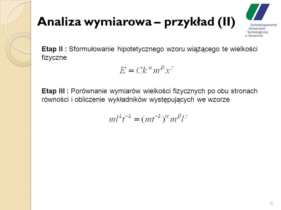 Analiza wymiarowa – przykład (II)