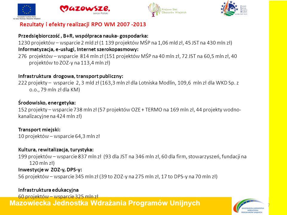 Rezultaty i efekty realizacji RPO WM 2007 -2013