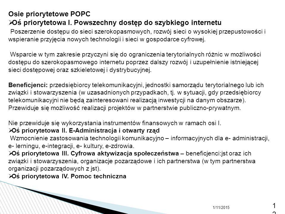 Osie priorytetowe POPC