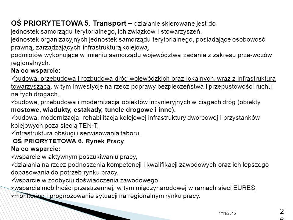 OŚ PRIORYTETOWA 5. Transport – działanie skierowane jest do