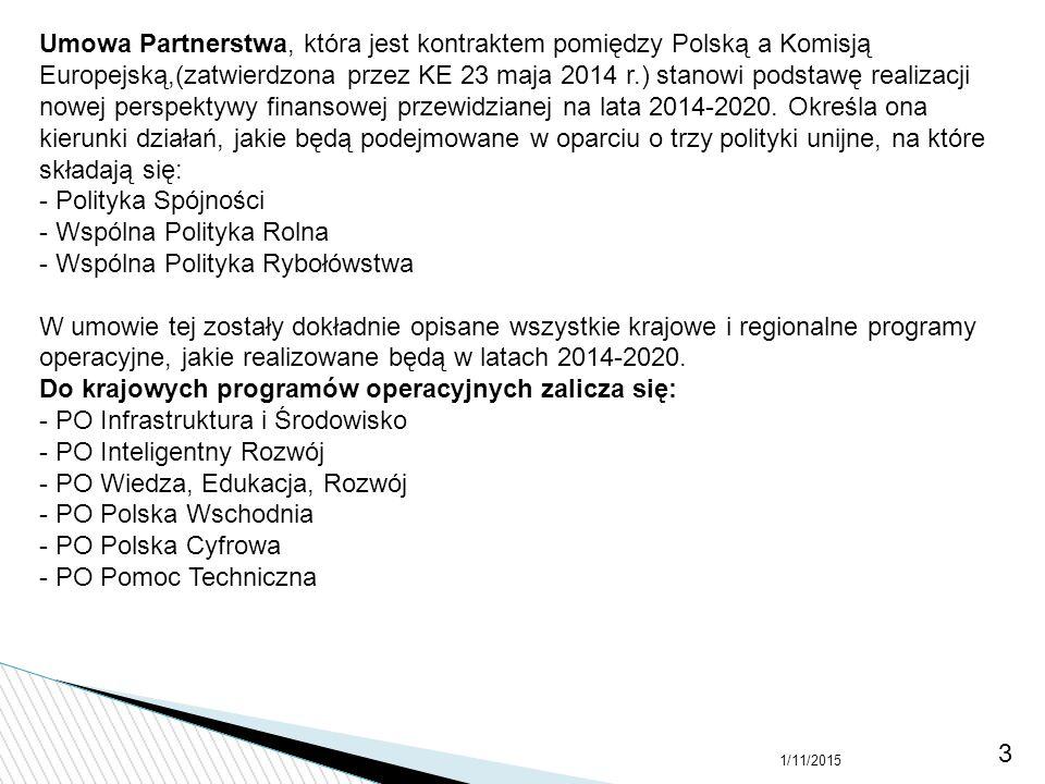 Umowa Partnerstwa, która jest kontraktem pomiędzy Polską a Komisją Europejską,(zatwierdzona przez KE 23 maja 2014 r.) stanowi podstawę realizacji nowej perspektywy finansowej przewidzianej na lata 2014-2020. Określa ona kierunki działań, jakie będą podejmowane w oparciu o trzy polityki unijne, na które składają się: