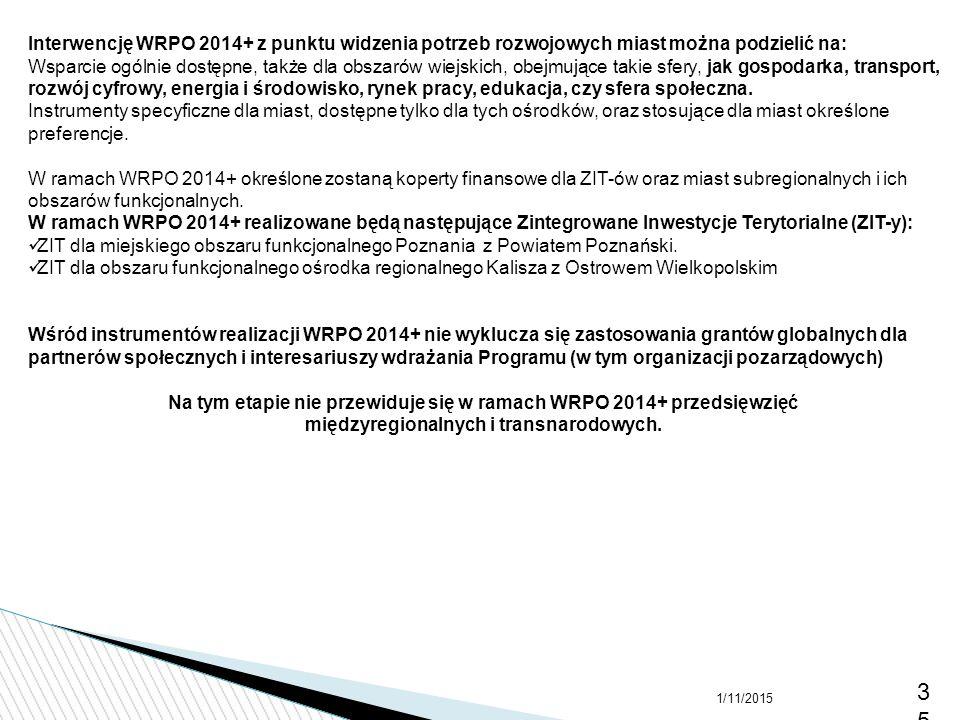 Interwencję WRPO 2014+ z punktu widzenia potrzeb rozwojowych miast można podzielić na: