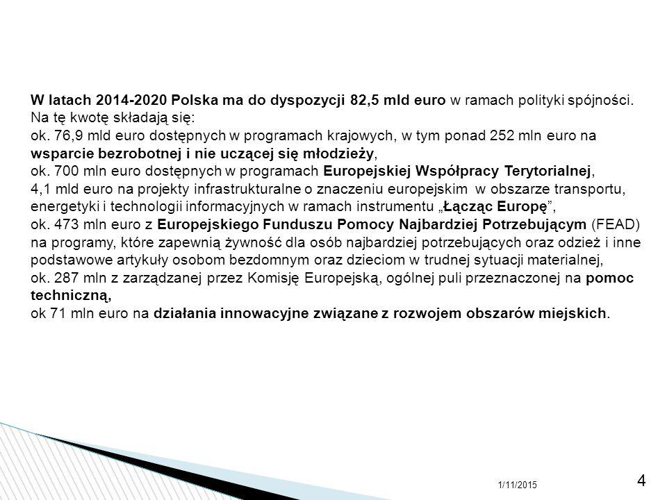 W latach 2014-2020 Polska ma do dyspozycji 82,5 mld euro w ramach polityki spójności. Na tę kwotę składają się: