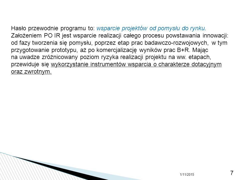 Hasło przewodnie programu to: wsparcie projektów od pomysłu do rynku