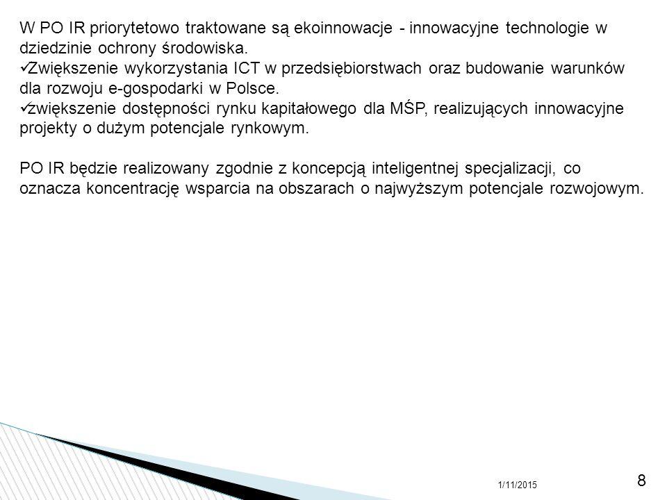 W PO IR priorytetowo traktowane są ekoinnowacje - innowacyjne technologie w dziedzinie ochrony środowiska.