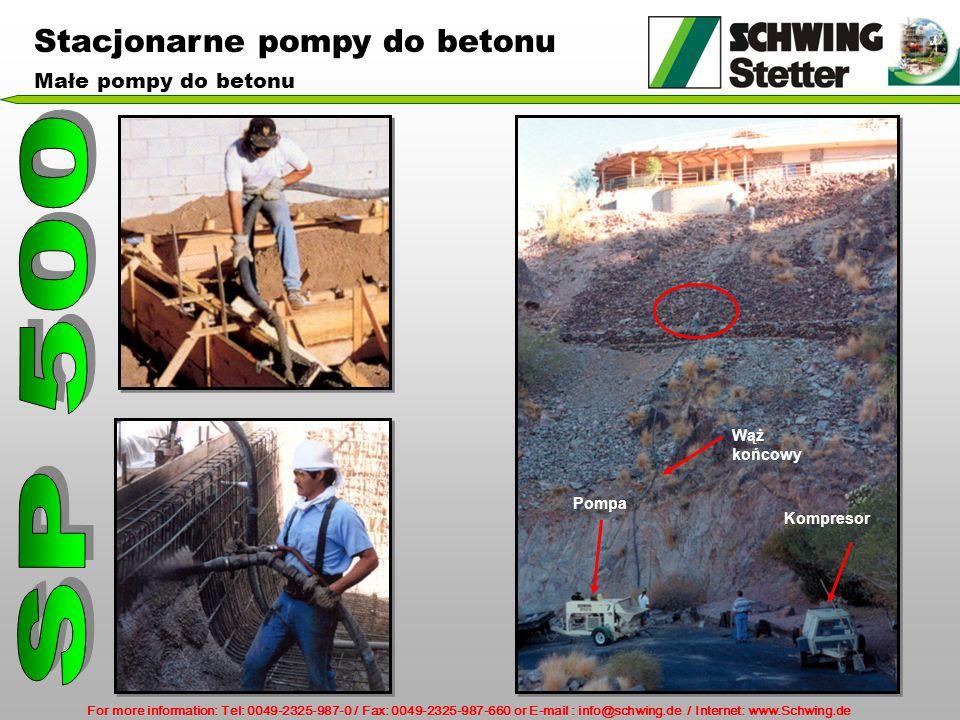 SP 500 Stacjonarne pompy do betonu Małe pompy do betonu Wąż końcowy
