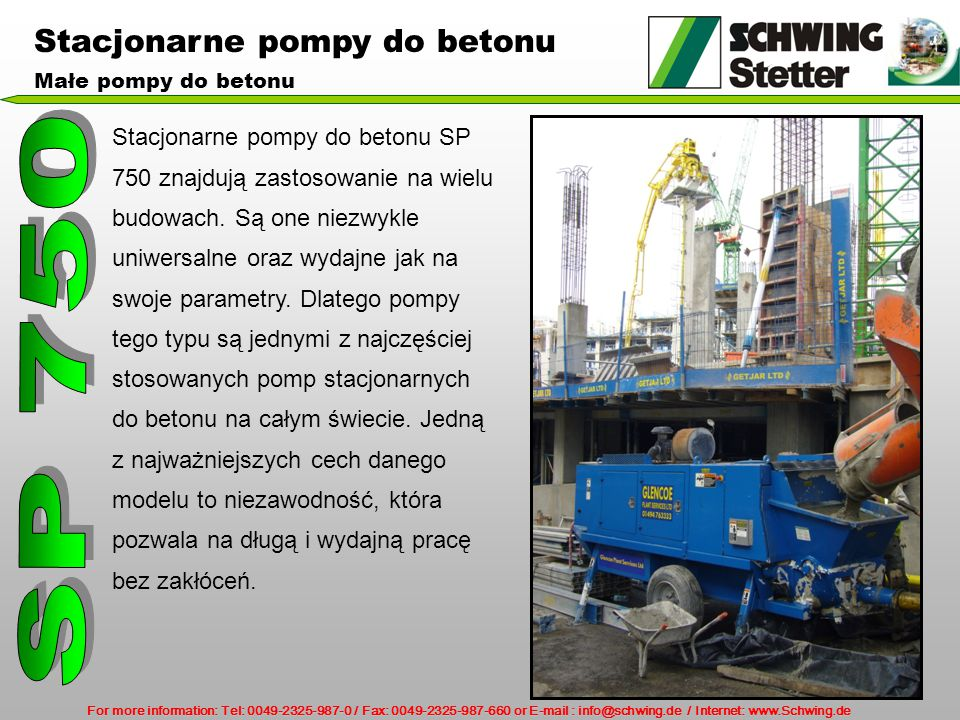 SP 750 Stacjonarne pompy do betonu