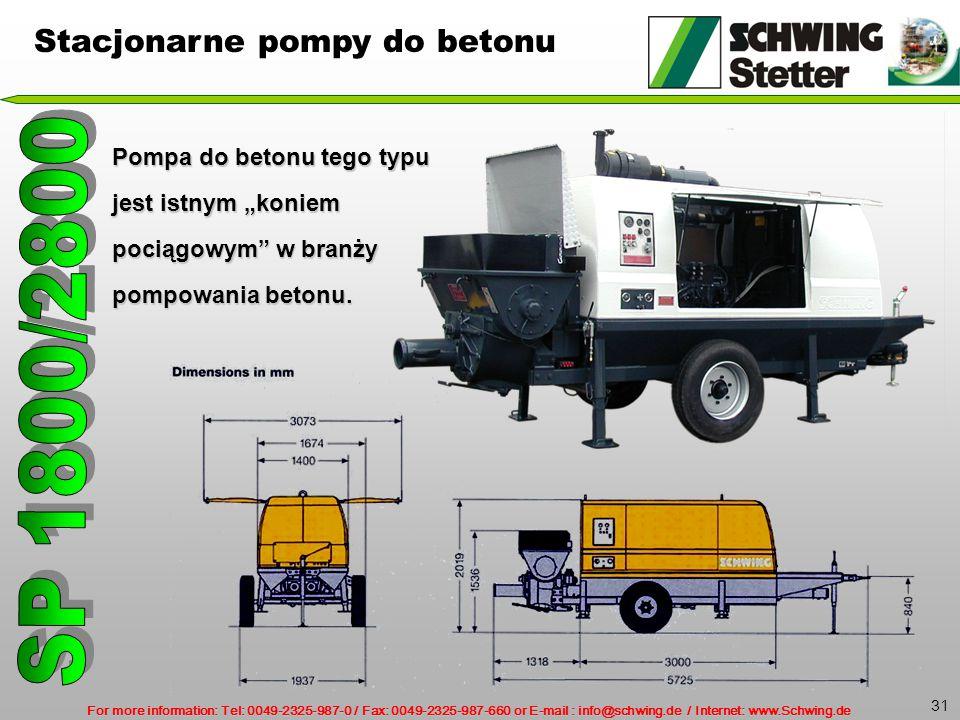 SP 1800/2800 Stacjonarne pompy do betonu