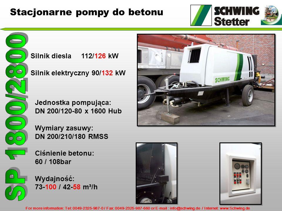 SP 1800/2800 Stacjonarne pompy do betonu Silnik diesla 112/126 kW