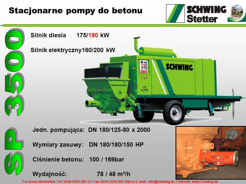 SP 3500 Stacjonarne pompy do betonu Silnik diesla 175/190 kW