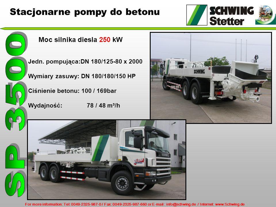 SP 3500 Stacjonarne pompy do betonu Moc silnika diesla 250 kW