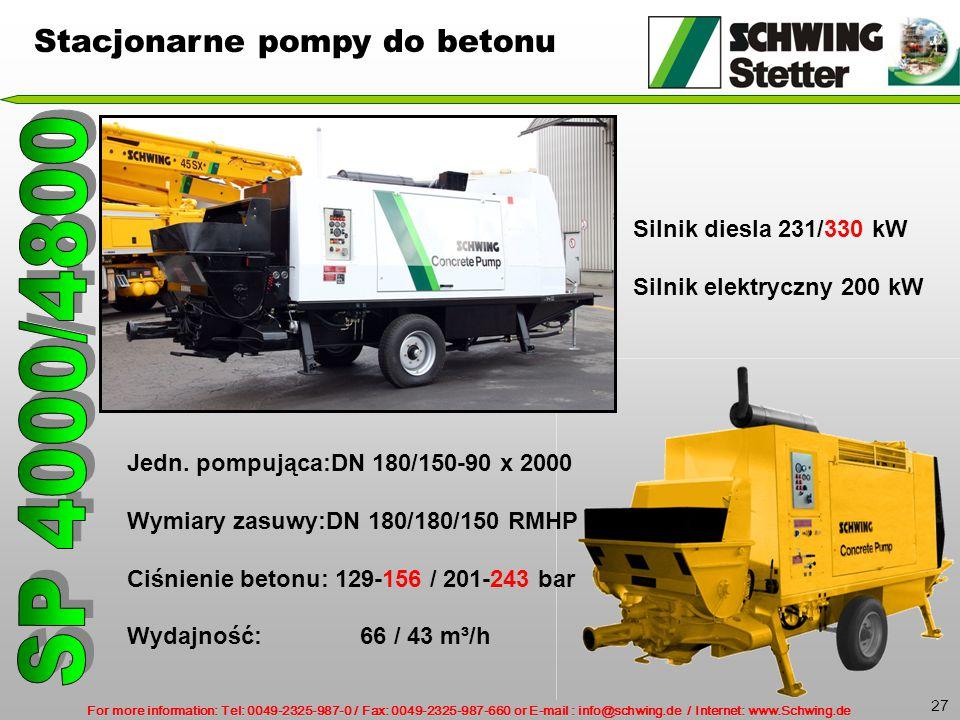 SP 4000/4800 Stacjonarne pompy do betonu Silnik diesla 231/330 kW