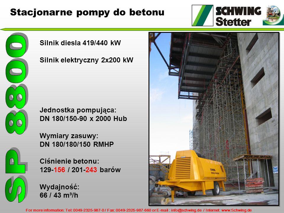 SP 8800 Stacjonarne pompy do betonu Silnik diesla 419/440 kW