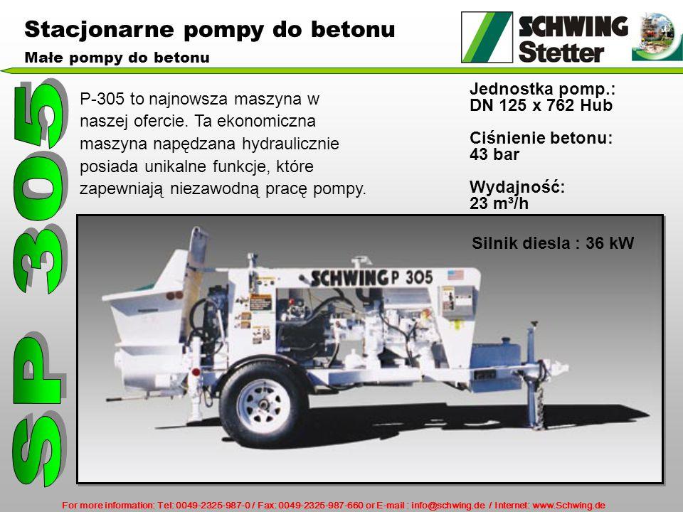 SP 305 Stacjonarne pompy do betonu Jednostka pomp.: