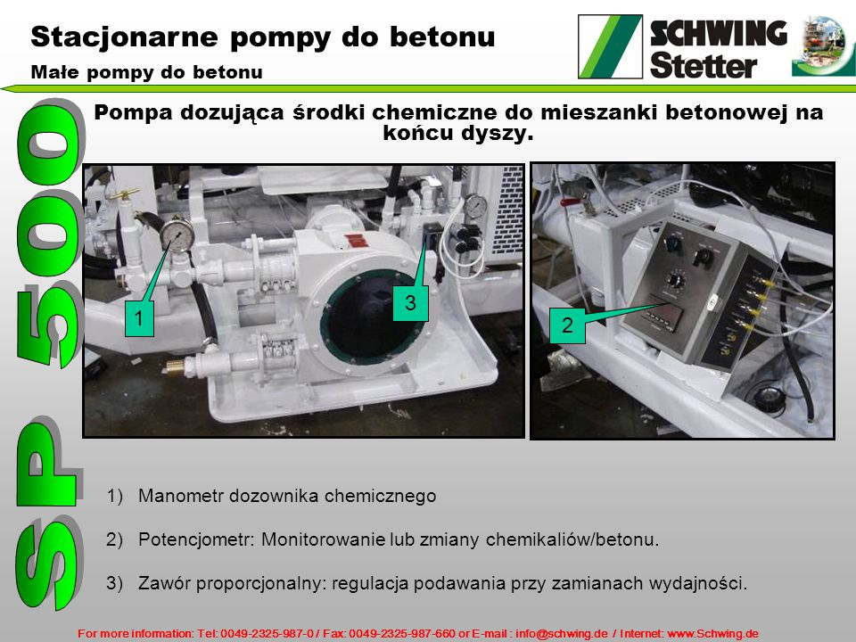 Pompa dozująca środki chemiczne do mieszanki betonowej na końcu dyszy.