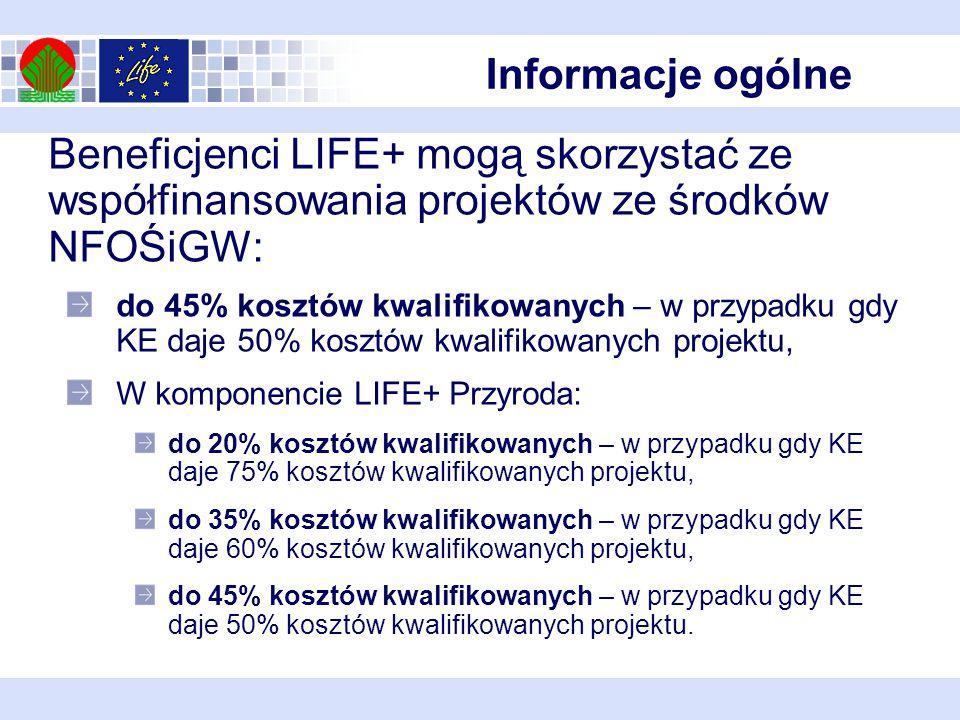 Informacje ogólne Beneficjenci LIFE+ mogą skorzystać ze współfinansowania projektów ze środków NFOŚiGW: